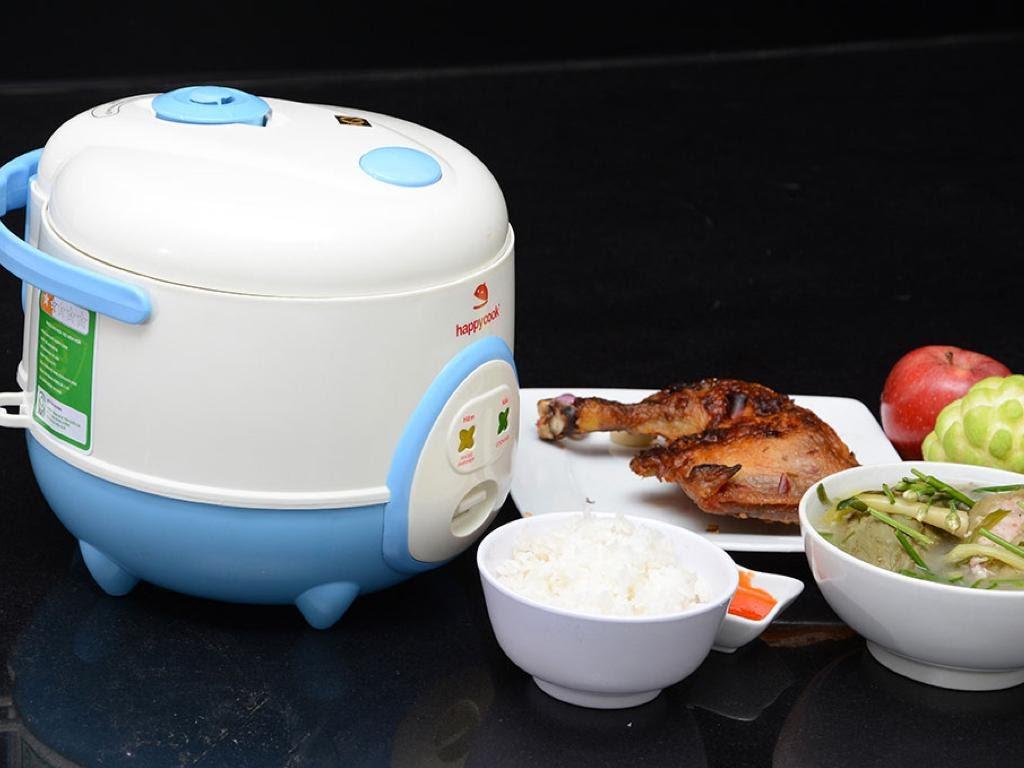 nồi cơm điện mini happycook trắng xanh