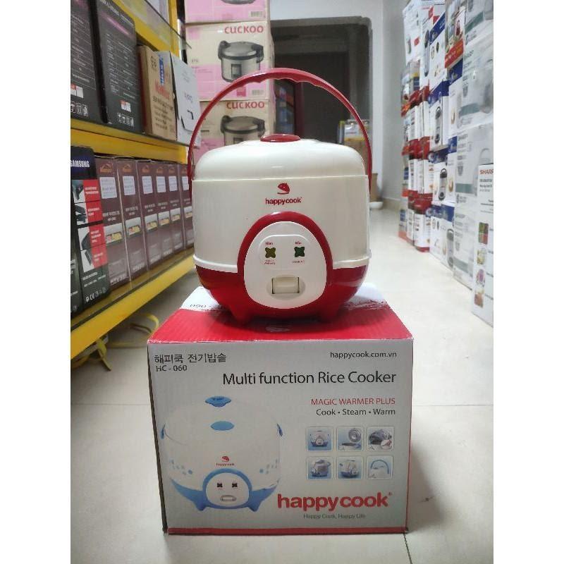 nồi cơm điện mini happycook trắng đỏ