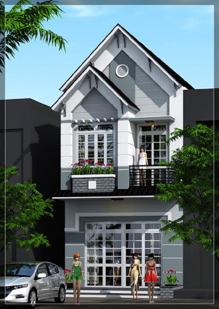 Nhà mái lệch 2 tầng 2