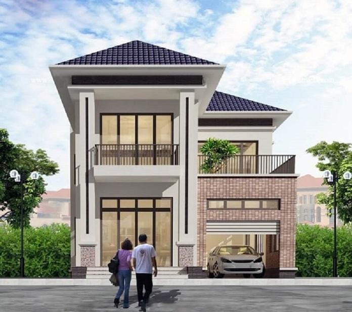 mẫu nhà 2 tầng 8x10m 4