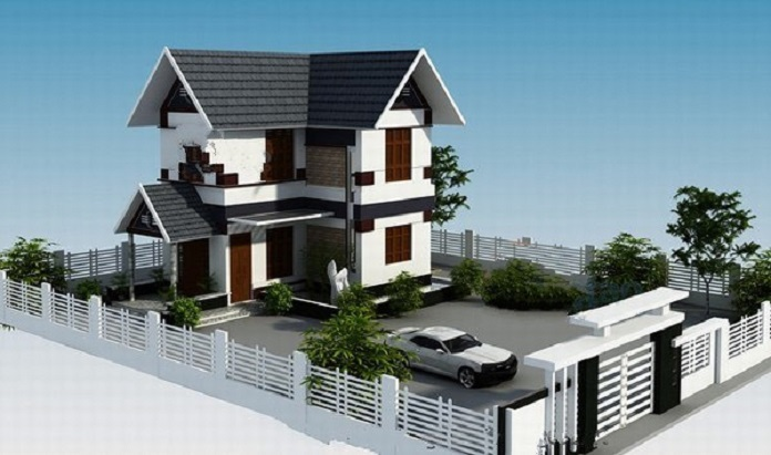 mẫu nhà 2 tầng chữ L 100m2 5