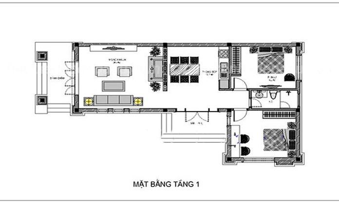 mẫu nhà chữ L 2 tầng mái bằng 2