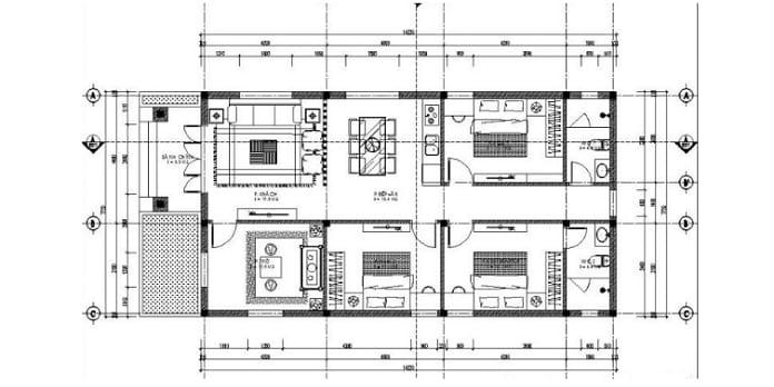 mẫu nhà ống 1 tầng đẹp 3 phòng ngủ 1