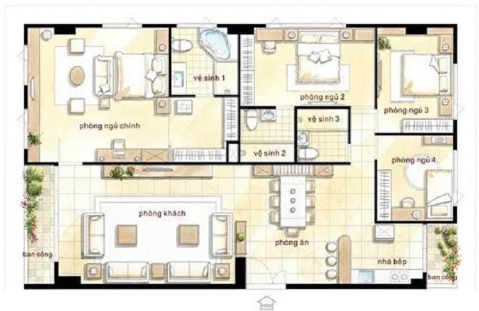mẫu nhà vườn đẹp 1 tầng 4 phòng ngủ 6