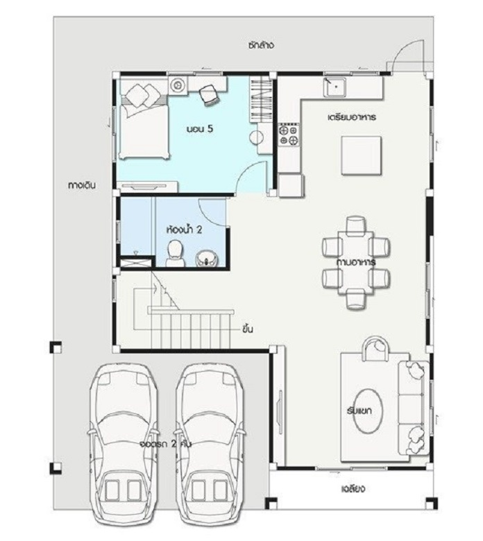 mẫu nhà vuông 2 tầng mái thái 1