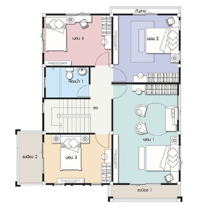 mẫu nhà vuông 2 tầng mái thái 2