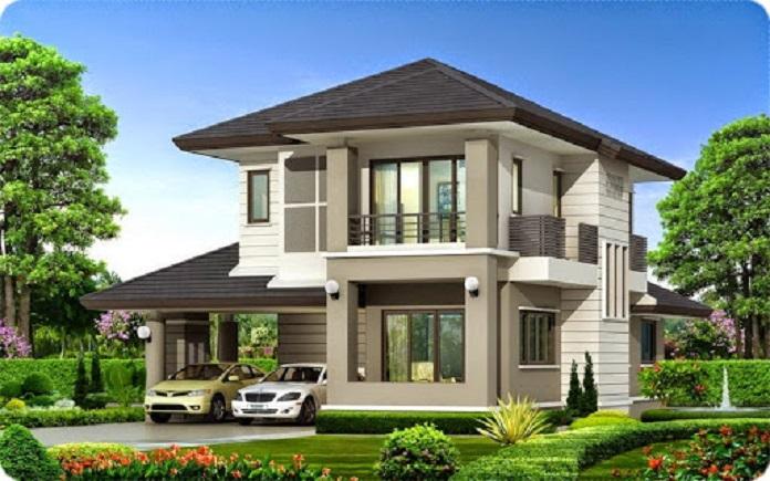 mẫu nhà vuông 2 tầng mái thái 4