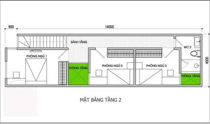 nhà 2 tầng 3 phòng ngủ 2
