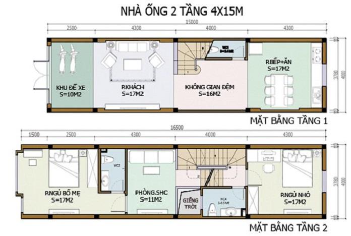 nhà 2 tầng 3 phòng ngủ 4