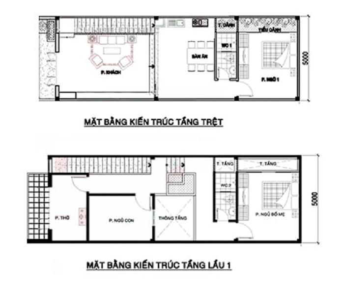 nhà 2 tầng 3 phòng ngủ 6