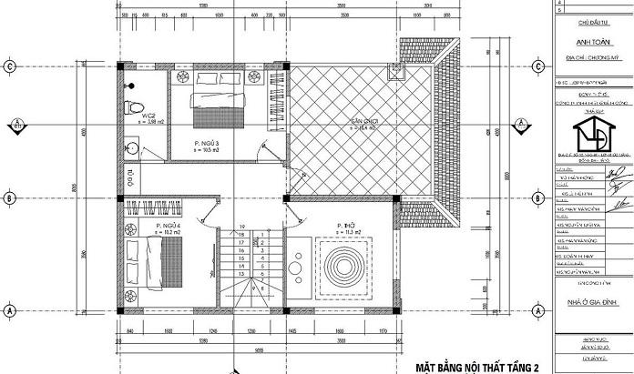 nhà 2 tầng 4 phòng ngủ 1 phòng thờ 1