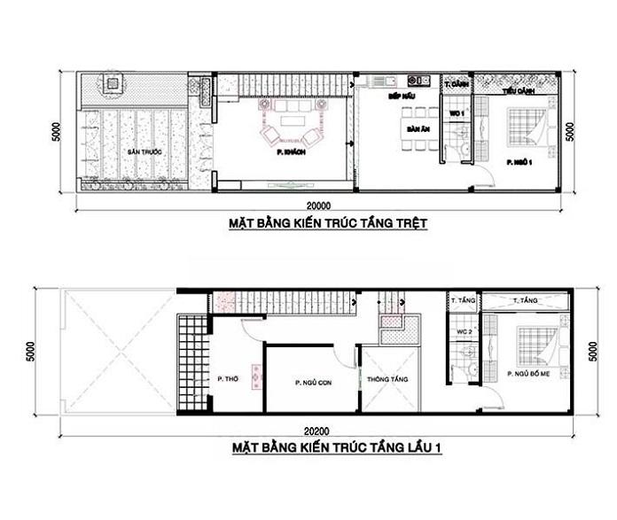 nhà 2 tầng 4 phòng ngủ 1 phòng thờ 4
