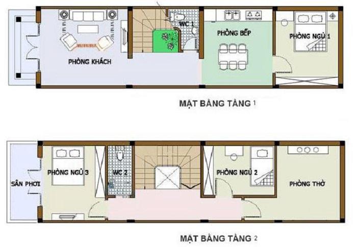 nhà 2 tầng 4 phòng ngủ 1 phòng thờ 5