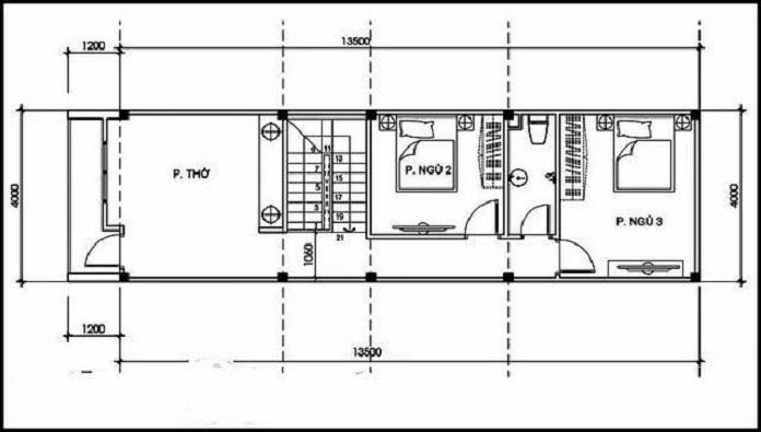 nhà 2 tầng 4 phòng ngủ 1 phòng thờ 7