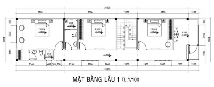 nhà 2 tầng 4 phòng ngủ 1 phòng thờ 8
