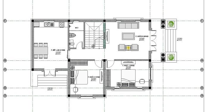 nhà 2 tầng mặt tiền 8m 4 phòng ngủ 1