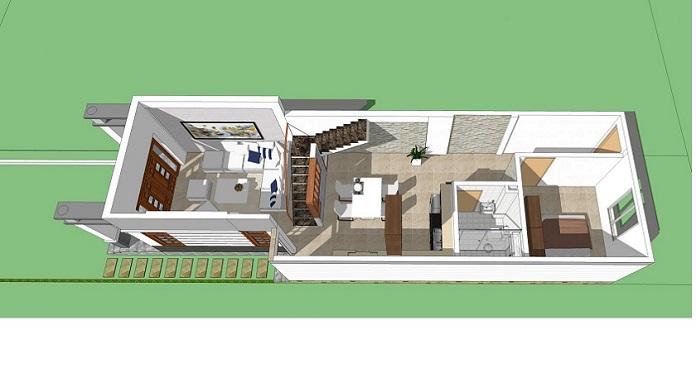 Nhà cấp 4 gác lửng 3 phòng ngủ 1