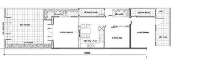 nhà ống 1 tầng 2 phòng ngủ 1