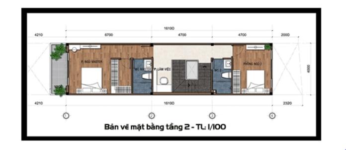 mẫu nhà ống 2 tầng mái Thái 1