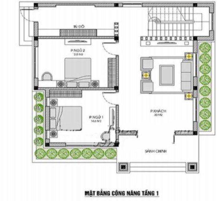 nhà vuông 2 tầng 4