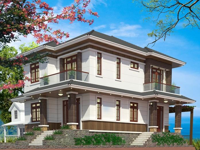 thiết kế nhà 2 tầng 4 phòng ngủ 1