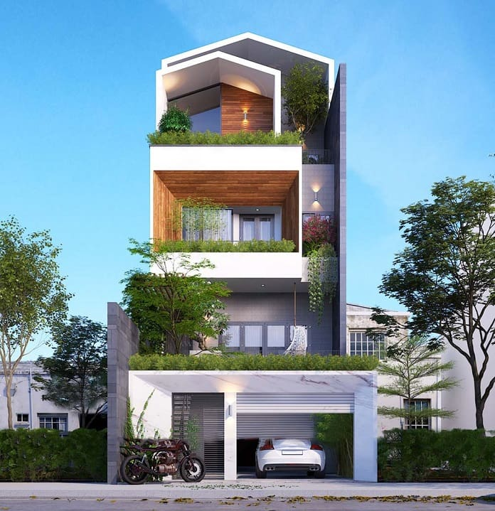 thiết kế nhà đẹp 3 tầng mặt tiền 7m 1